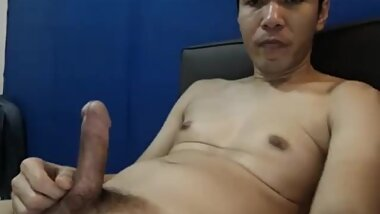 Asian man cum